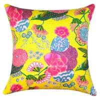 24X24 Yellow Indian Floral Kantha Throw Pillow For Sofa ...