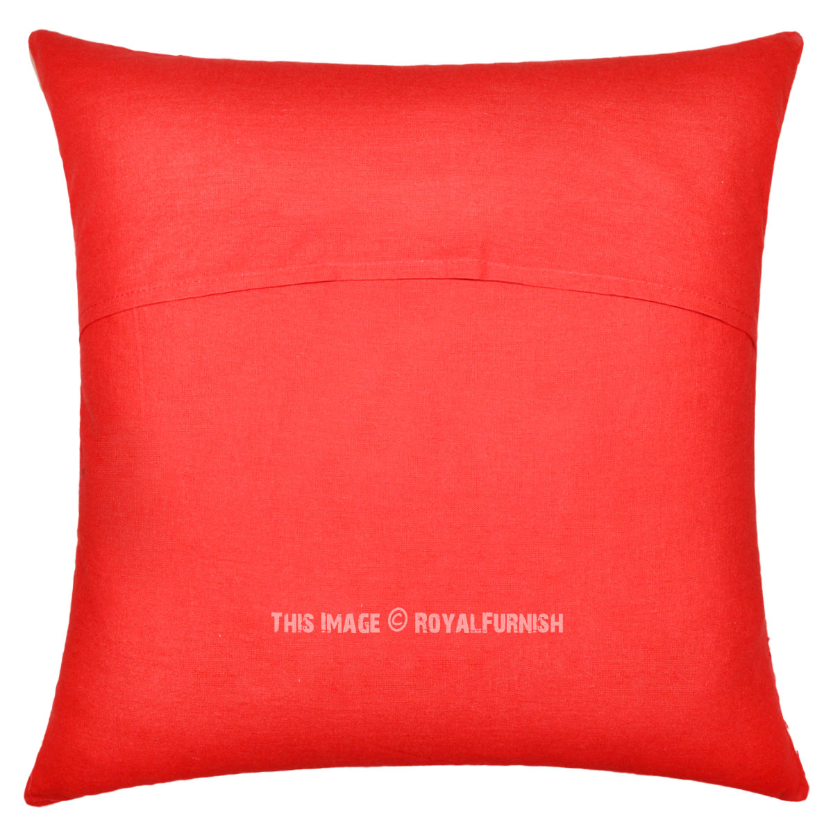 16quot Red Indian Ikat Kantha Thread Cotton Cushion Pillow
