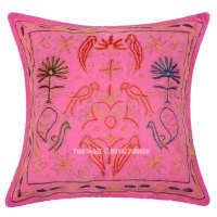 Pink Animal Design Indian Embroidered Cotton Decorative ...