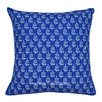 """16"""" Blue Floral Block Printed Decorative & Accent Throw ..."""