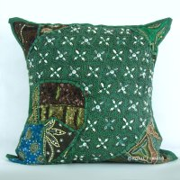 Antique Unique Green Beaded Embroidered Cotton Throw ...