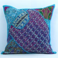 Elegant Handmade Heavy Beaded Indian Vintage Throw Pillow ...