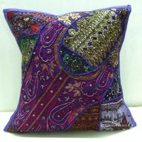 Decorative Vintage Handmade Beaded Embroidery Throw Pillow ...