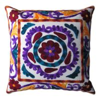 Indian Handmade Designer Cushion Cover Suzani Embroidered ...