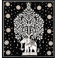 Black and White Elephant Tree Tapestry Wall Hanging ...
