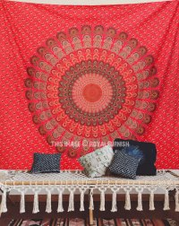 Red Floral Indian Mandala Dorm Decor Tapestry Wall Hanging ...