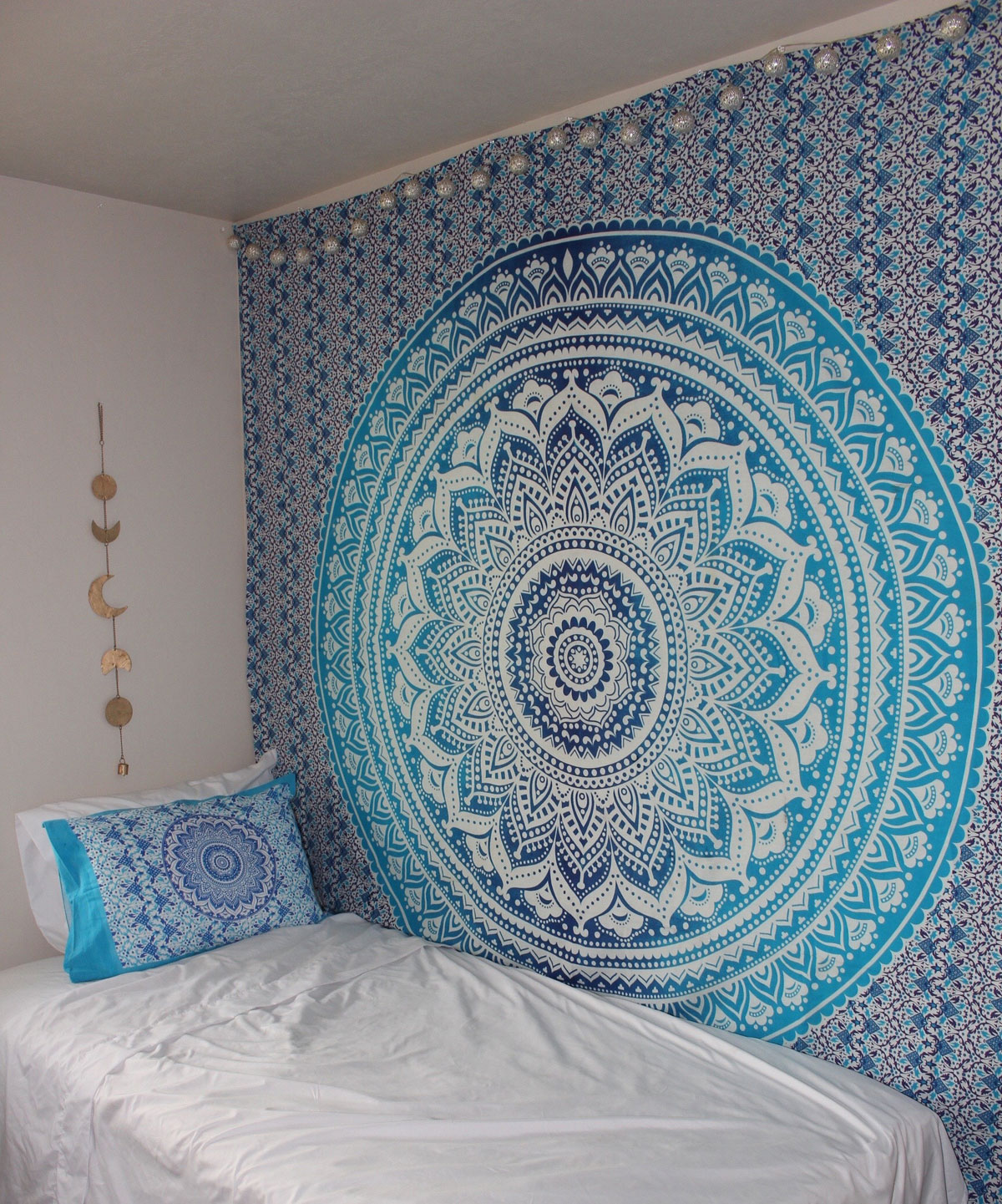 3d Wallpaper For Walls India Blue Multi Indian Ombre Mandala Wall Tapestry Hippie