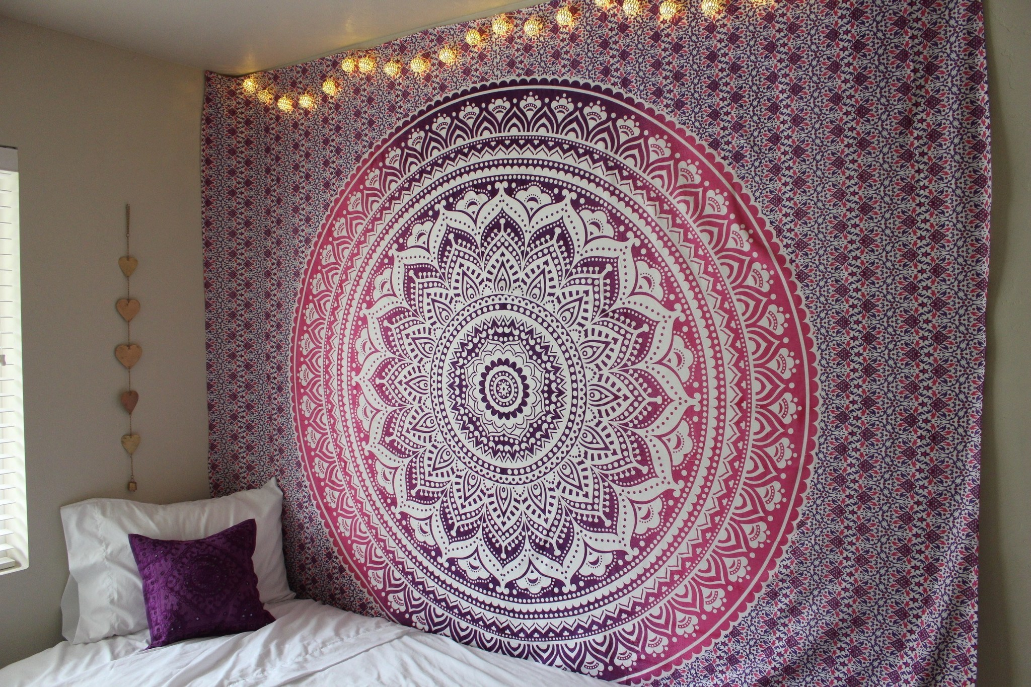 Black And White Wallpaper Bedroom Ideas Purple Ombre Mandala Cotton Wall Tapestry Bedding