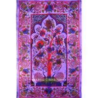 Purple Tree of Life Tie Dye Tapestry Wall Hanging ...