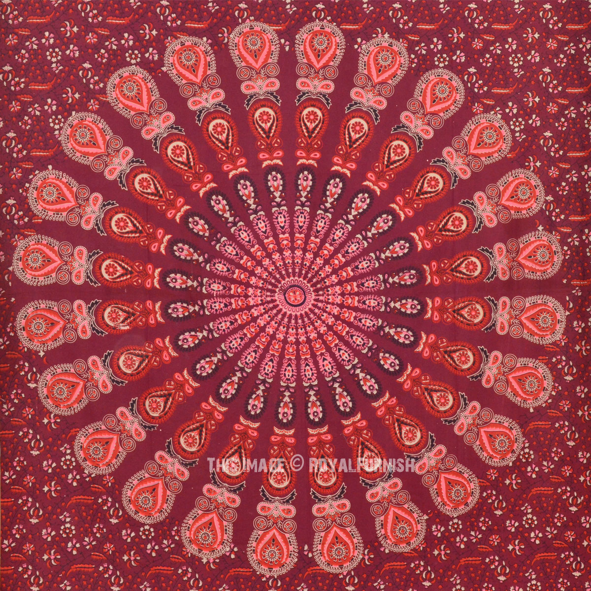 Black And Blue Floral Wallpaper Vibrant Maroon Peacock Mandala Wall Tapestry Indian