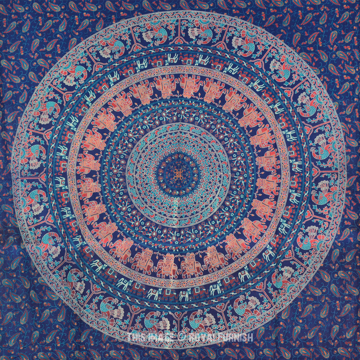 Cute Elephant Design Wallpaper Blue Indian Boho Style Psychedelic Bohemian Tapestry