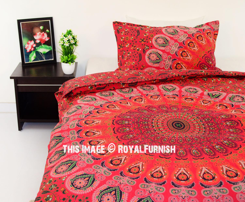 Twin Red Peafowl Boho Bedding Mandala Duvet Cover Set With