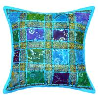 Turquoise Sequin Patch Embroidered Decorative Cottn Throw ...