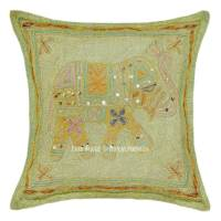 Brown Elephant Embroidered 16X16 Cotton Throw Pillow Cover ...