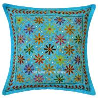 Turquoise Blue Decorative Needlepoint Embroidered Cotton ...