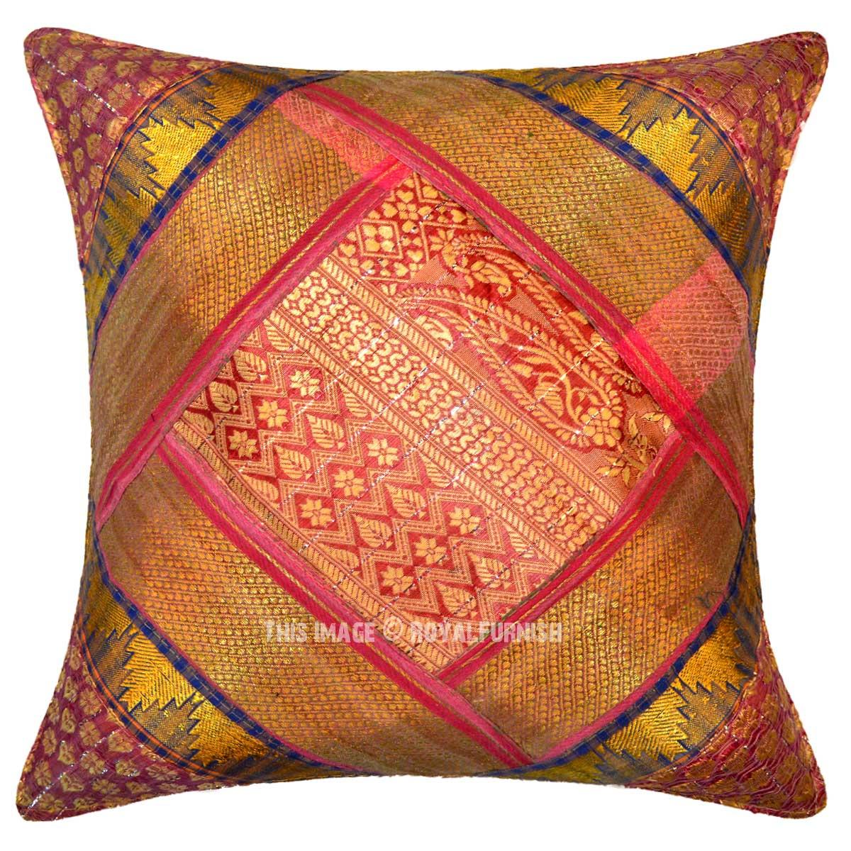 Indian Silk Brocade Pillows Sari Pillows Royal Furnish