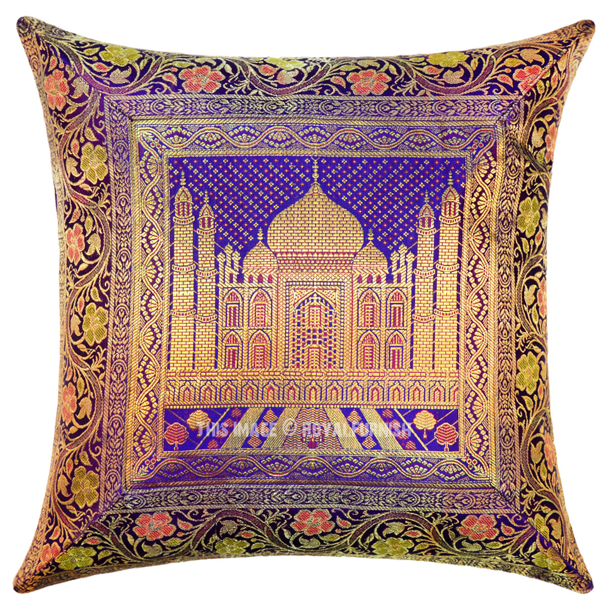 Purple Color Decorative Tajmahal Silk Brocade Throw Pillow