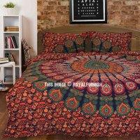 Multi Trippy Peacock Boho Bedspread Mandala Duvet Cover ...