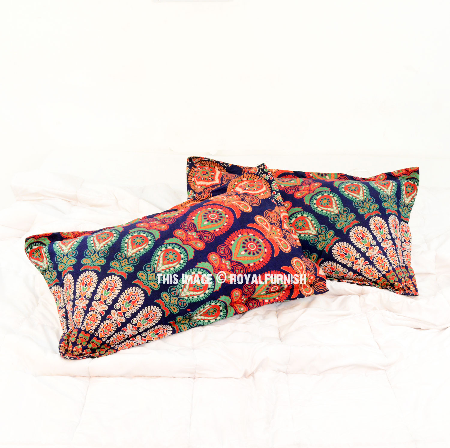 Blue Multi Goddess Hippie Bed Pillow Covers Set Of Two