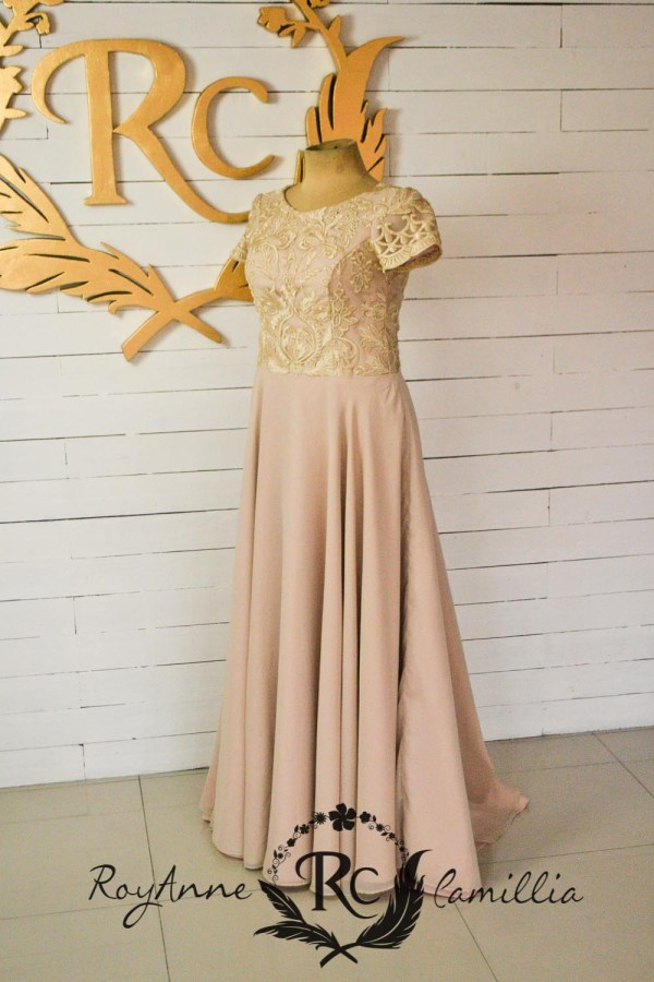 beige rental gown size large by royanne camillia - the best rental gowns in manila