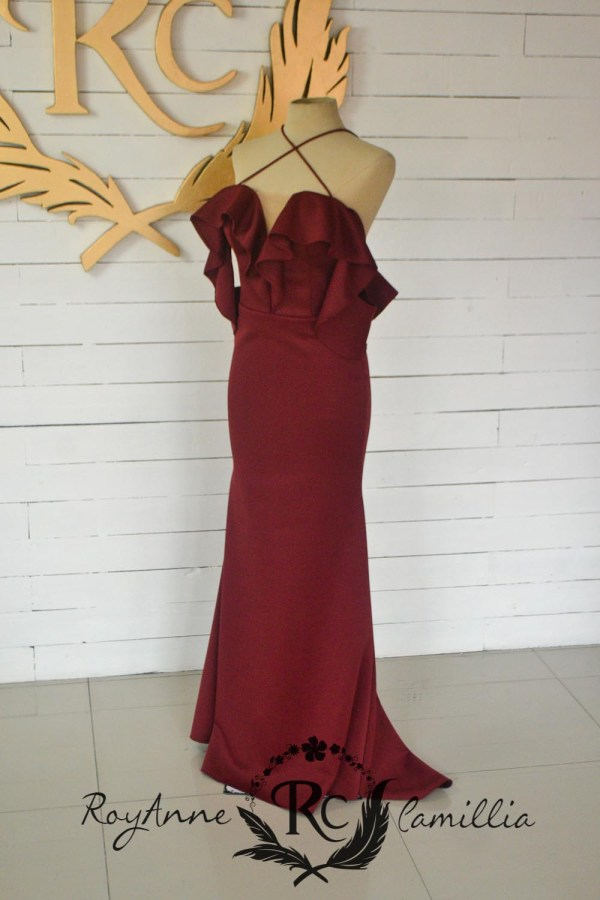 red rental gown