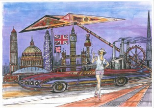 lonmdon, 1950's lady, cigarette holder, buick, st pauls, battesy power station, surreal,