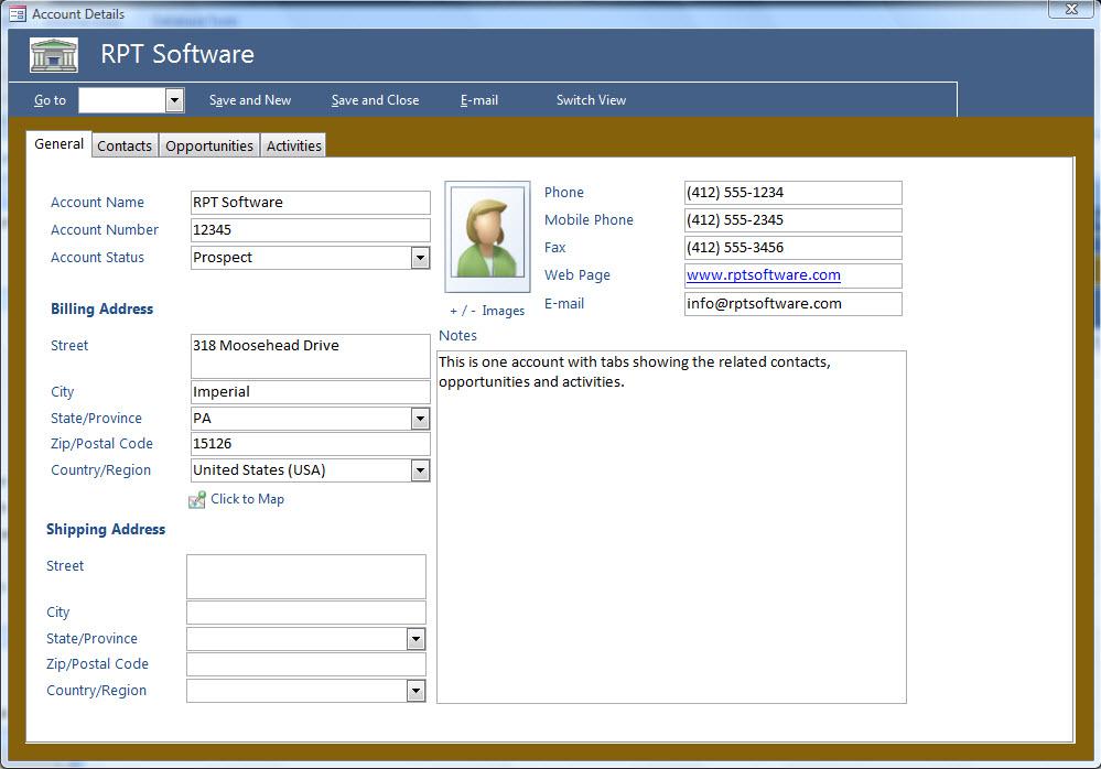 Microsoft Access Templates CRM Template 2007