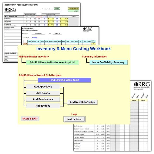 Restaurant Spreadsheet Library and Menu Costing Workbook/Spreadsheet