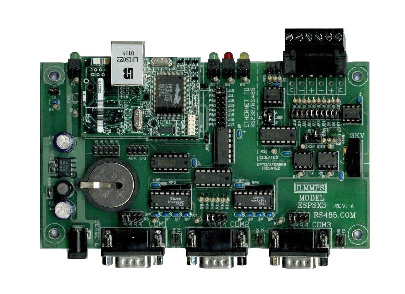 Ethernet 10 Base-T RS232, RS485, RS422 Serial Port Server