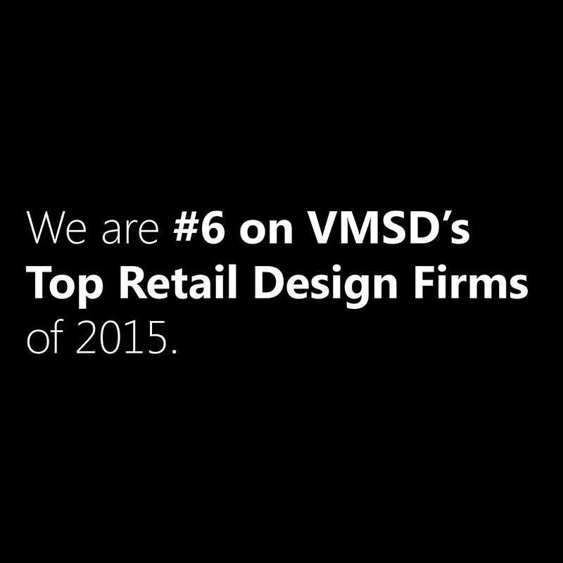 We are #6 on VMSD's Top Retail Design Firms of 2015