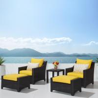Deco 5pc Club Chair & Ottoman Set - Sunflower Yellow ...
