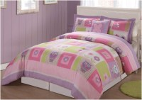 Girl Twin Bedding Set With Cute Owl And Flowers Motif ...