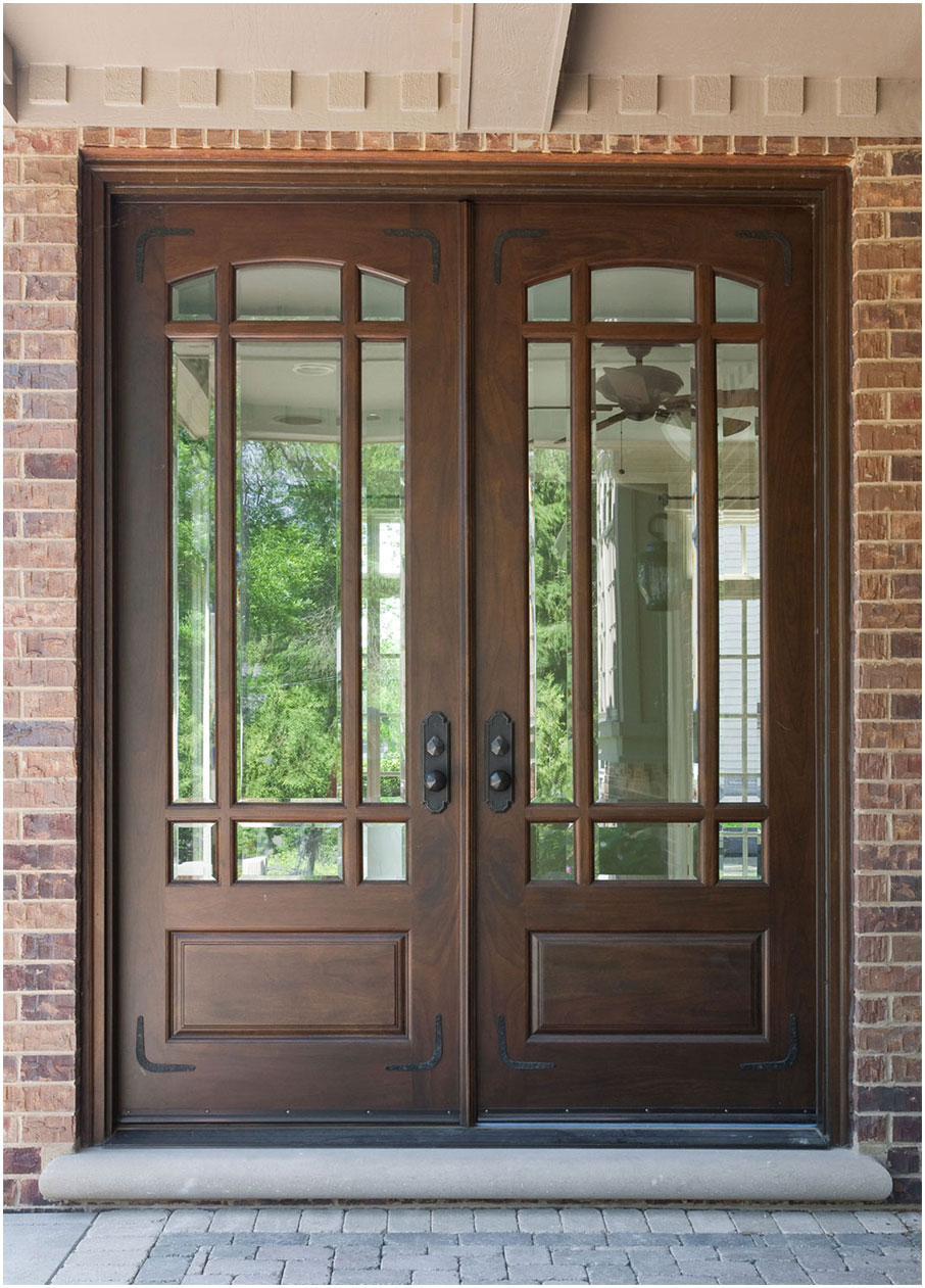 Wood Front Doors Ideas With Stained Glass