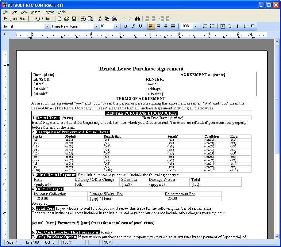 RTO Pro Help File - How To Setup your contract layout for printing - contract layouts