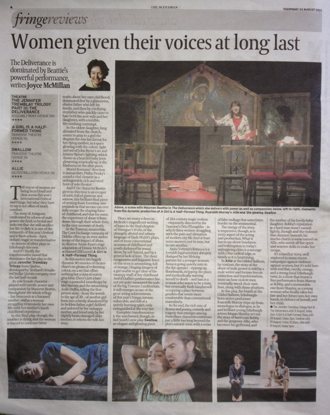 ALLIE REVIEW BY JOYCE MCMILLAN THE SCOTSMAN
