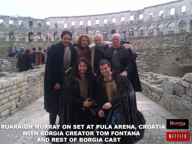GC Ruaraidh Murray on set at Pula Arena, Croatia with Borgia creator Tom Fontana abd rest of Borgia cast