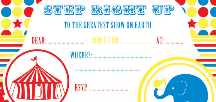 Free Party Invitations by Ruby and the Rabbit - circus party invitation