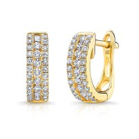 14k Yellow Gold Diamond Channel Set Huggie Hoop Earrings