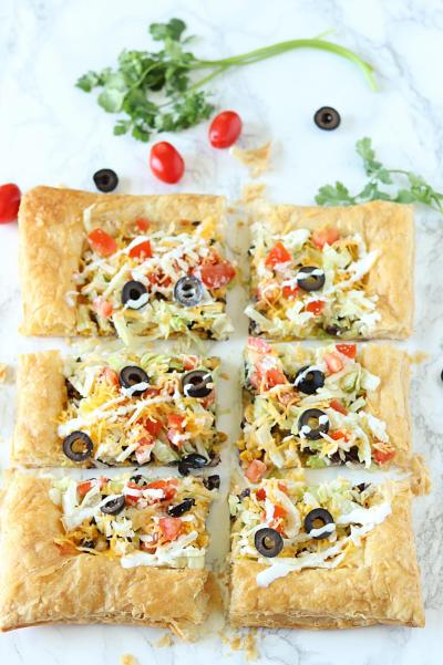 Easy Puff Pastry Taco Pizza, Vegetarian Puff Pastry Taco Pizza