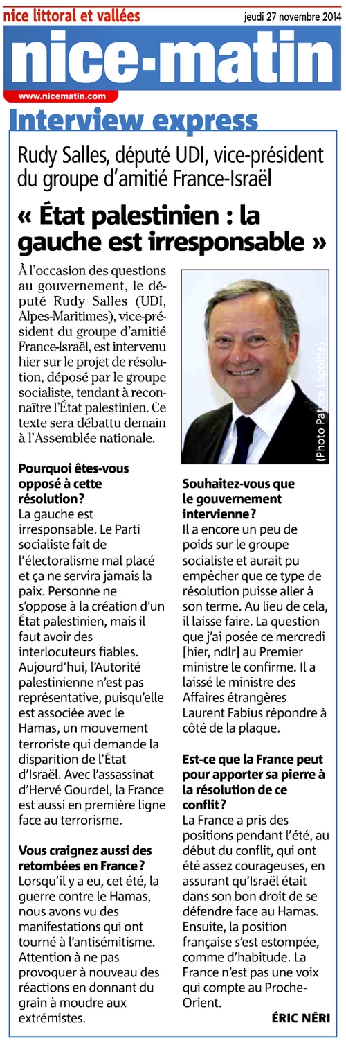 2014.11.27 NM Interview tribune résolution Israël