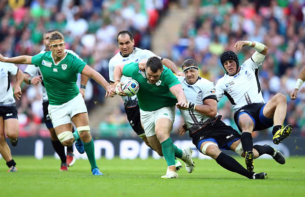 Cian Healey on the charge for Ireland against Romania