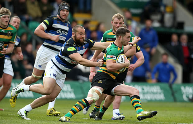 George North on the run for Northampton