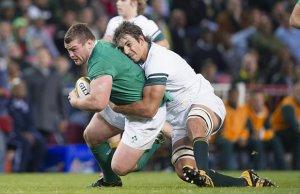 Jack McGrath is tackled by Eben Etzebeth
