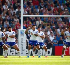 The Samoa team perform the Siva Tau