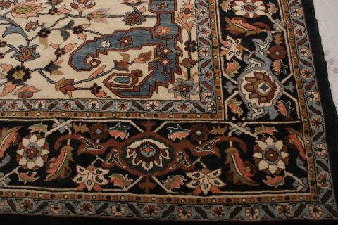 Persian Tabriz Blue Rectangle 12x18 Ft Wool Carpet 74552