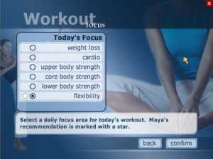 Screenshot of workout focus options