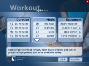 Screenshot of Yourself! fitness workout options