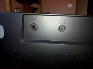 Photo of Damper Pedal and DC ports at rear of Casio CDP-120 keyboard