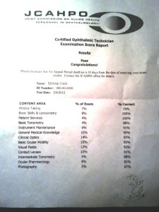 Certificed Ophthalmic Technician exam results