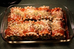 Lasagna roll ups in baking pan
